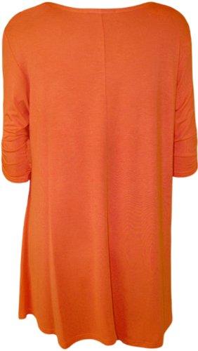 WearAll - Haut flottant avec une encolure degagée et à manches longues - Hauts - Femmes - Grandes tailles 42 à 56 Orange