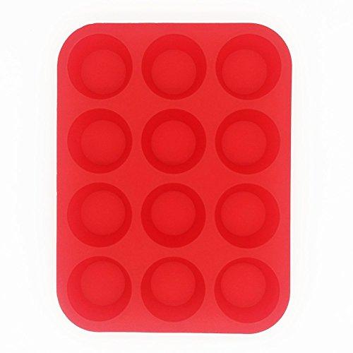 bakewareplus Silikon Kuchen Form 12 Cups Muffin Pan rot 12 Cup Muffin Pan