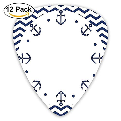 Marine Yacht Themed Design With Wave Like Zig Zags And Anchors Pattern Guitar Picks 12/Pack -