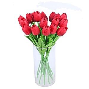Amkun Ramo de flores de tulipán artificiales de poliuretano realista, 10 unidades, para decoración de hogar, cocina…