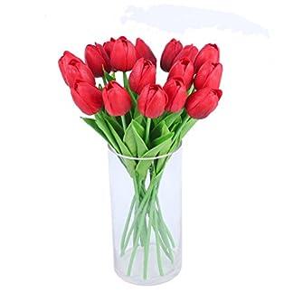 Amkun Ramo de flores de tulipán artificiales de poliuretano realista, 10 unidades, para decoración de hogar, cocina, salón, comedor, boda, etc.