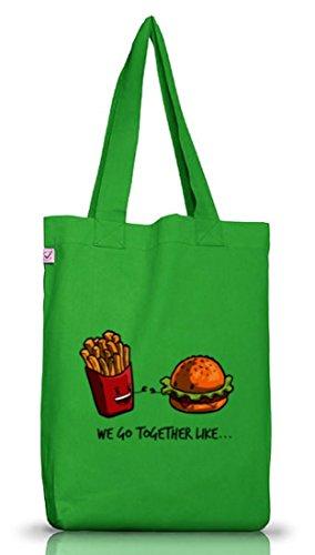 Valentinstag Jutebeutel Stoffbeutel Earth Positive mit Fries + Burger Motiv von ShirtStreet Kelly Green