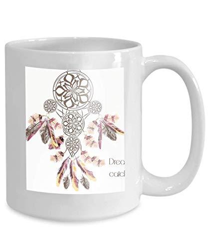 Taza de café Té Cupbackground Atrapasueños colorido plumas moda entintado 110z