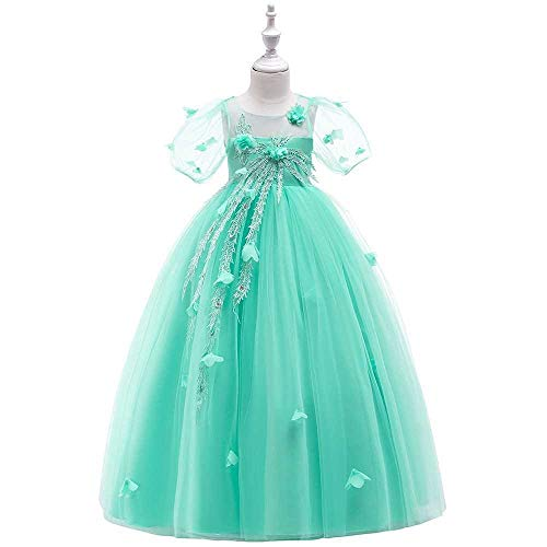 Bademode Mädchen Schulterfrei Bowknot Princess Dress Satin Blumenmädchen Hochzeit Kostüm Klavier Performance Kleidung Bikinis (Color : Green, Size : 10-11Years)