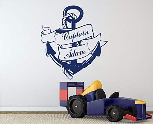 Wuyyii Coole Personalisierte Name Maßgeschneiderte Anker Wandaufkleber Home Decor Wandbild Poster Aufkleber Vinyl Kindergarten Kinder Jungen Zimmer Aufkleber 56X61 Cm