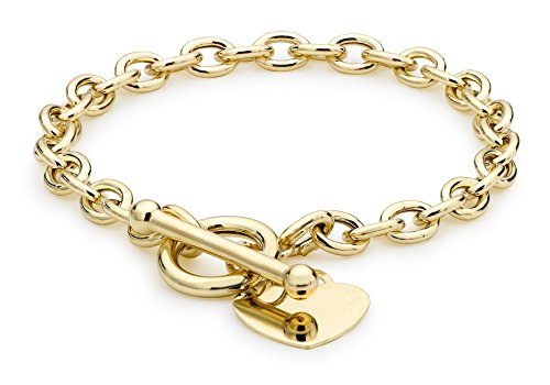 Carissima Gold Women's 9 ct Yellow Gold Oval Belcher Heart Tag T-Bar Bracelet of Length 18 cm/7 Inch 1.24.1471