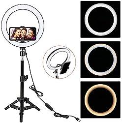 LED Anneau Lumiere, ZOMEi 10 Pouces Selfie Lumiere avec Trépied, Professionnels Lumiere Anneau pour Telephone Caméra Photo Vidéo Self-Portrait Youtube et Maquillage
