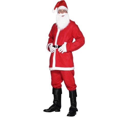 Santa traje traje de hombres, incluye: chaqueta, pantalones, barba, sombrero y cinturón, rojo y blanco corte traje de Santa, barba y sombrero para completar el look, Ideal para eventos interiores o al aire libre, perfecto para fiestas de Navidad y fiestas ¡Travieso o Niza! ¡Traje de Santa para un disfraz festivo! Seco limpie solamente, 100% poliester Contenido: 1 x Santa traje traje, chaqueta, pantalones, barba, sombrero y cinturón masculino de Smiffy, talla: M, color: rojo y blanco, 20841 disfraz de papa Noel