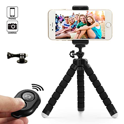 Dezuo 18cm Mini Treppiede Flessibile Cavalletto per Telefono, Smartphone, Gopro, iPhone, Fotocamera Compatto Con Supporto Cellulare Universale e Telecomando Bluetooth