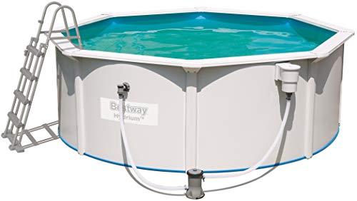 Bestway Hydrium Pool Set, rund 360x120 cm Stahlwandpool-Set mit Filterpumpe + Zubehör, weiß