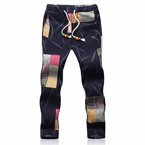 Men's Designer Linen Printed Casual Jogger Trousers Black