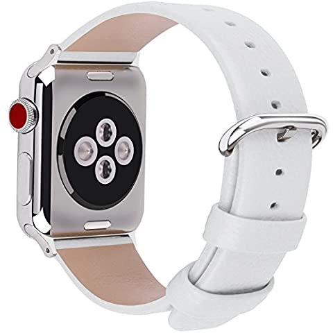 15 Couleurs pour Apple Watch Bracelet, Fullmosa® Yan Watch Band Convexe Bracelet en Cuir Pleine Fleur avec Fermoir en Acier Inoxydable pour Apple Watch Series 1 Series 2 Series 3, 38mm,Blanc