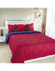 Amazon Brand - Solimo Microfibre Reversible Comforter, Double, Red and Blue