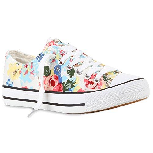 Damen Sneakers Low Blumen Prints Flats Schnürer Turnschuhe Weiß 56ltvnisAZ