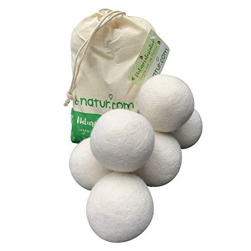 8-Natur Trocknerbälle Bio XXL 6er Pack - Trocknerkugeln aus 100% Merinowolle - - Tennisbälle Trockner Daunen