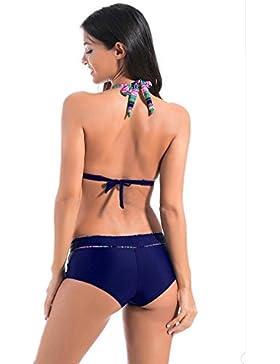 Due pezzi Beachwear Stripes Style Top e Bottom Swimwear Costumi da bagno per le signore e la ragazza , blue , s