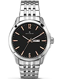 Accurist Men's Quartz Watch with Black Dial Analogue Display and Silver Stainless Steel Bracelet 7047.01