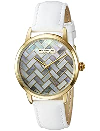 Akribos XXIV Reloj de cuarzo para mujer con Madre de Pearl Esfera Analógica Pantalla y Correa de piel color blanco ak906wtg