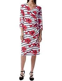 807fafe5351 Miss Via 8801122 Damen modisches Kleid in Wickeloptik mit V-Ausschnitt 3 4-
