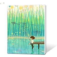 Bricolaje Pintado A Mano Números Kits De Pintura Al Óleo Chica De Dibujos Animados Pesca Ribera