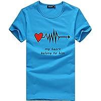 Rabbiter Hombres Parejas Casual Carta de Amor Impreso Slim Camisa Tops