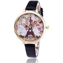 vovotrade Romántico vendimia París Torre Eiffel mujer reloj de cuarzo de cuero (negro)