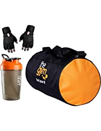 S.Blaze Fabric 20 L Orange Gym Bag with Hand Support Black Gloves and 500  ml Sport Sipper for Men and Women… 5ec838ca80f81