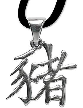 Chinesisches Sternzeichen Schwein Anhänger Amulett 925er Silber Schmuck mit Lederhalsband 12
