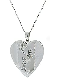 TOC Sterling Silver Butterfly Engraved Heart Locket Necklace 18""