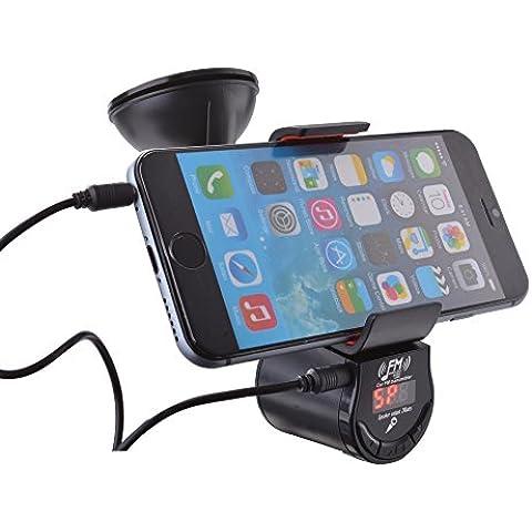 XCSOURCE auto multifunzionale Trasmettitore FM con 360 ° supporto del telefono chiamate in vivavoce per iPhone Samsung smartphone-nero AC588