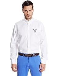 Hackett London Ppoint Lrc Wreath Emb -  Camisa casual para hombre Blanco talla M