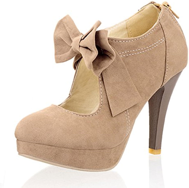 96725734739 KingRover Simple Round Toe Thin High Heel Bowtie Zipper Zipper Zipper Party  Prom Court Shoes B07DXKSNMP