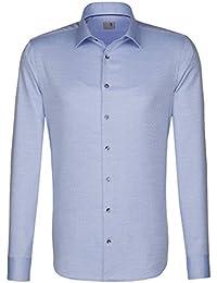 Seidensticker Herren Langarm Hemd Schwarze Rose Slim Fit Business Kent Blau/Weiß Strukturiert mit Piping 244520.13