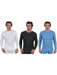 Set Of 3 Colours Mens Thermal Underwear Long Sleeve T-Shirt, Choice Of Sizes