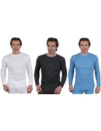 Lot de 3 Couleurs de Sous-vêtements T-shirt Thermique Manches Longues pour Hommes, Choix de Tailles