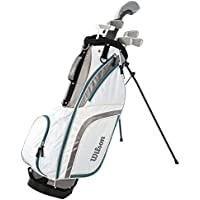 Damen Linkshand Wilson ProStaff HDX Golf Halbsatz Eisen 5/7/9/SW Holz 5, Putter, Standbag