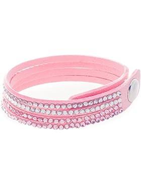 Bella Carina Kinder Armband Samt mit Kristall weiß rosa, 15 - 17 cm