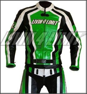 *4LIMIT Sports Motorrad Lederkombi LAGUNA SECA Zweiteiler, Schwarz-Grün, Größe XL*
