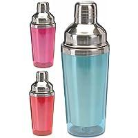Cocktail Shaker/Mixer per Cocktail in acciaio inox rivestiti anti-congelamento in plastica colorata, 500ml Blau