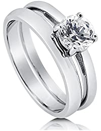 BERRICLE Rhodium Plated Sterling Silver Round Cut Cubic Zirconia CZ Solitaire Engagement Ring Set