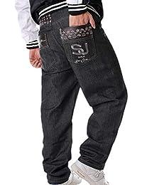 cdd40a133e464 Hombres Hip Hop Cargo Jeans de la Vendimia Bordados Sueltos Pantalones Rap  Denim Pantalones Rectos