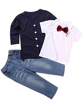 JYJM 1Set Jungen Langarm T-Shirt Tops + Coat + Hosen Kleider Outfits