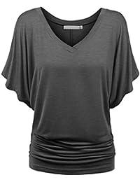 KEERADS T-Shirt Damen Sommer Kurzarm Fledermaus Ärmel Oversized Lose Tops  Bluse Oberteile 31b71a6e59