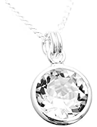 pewterhooter 925 Sterling Silver pendant and chain handmade with sparkling Diamond White crystal from SWAROVSKI® in a silver channel setting.