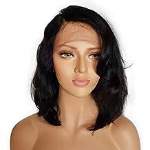 Beikoard Peluca-Brasileño menos encaje delantero peluca completa Bob Wave negro natural buscando mujeres pelucas