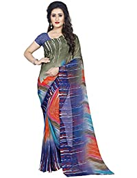 Anand Sarees Faux Georgette Printed Blue Color With Blouse Piece (1414)