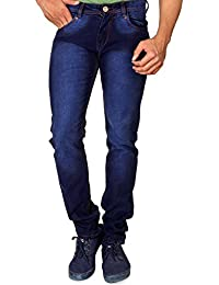 Villain Men's Jeans - Straight Fit Denims For Boys - Lightly Washed Mid Rise Jeans - Dark Blue