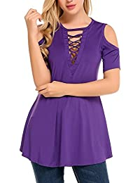 Zeagoo Women's Cold Shoulder Sexy V Neck Hollow Out Front Lightweight Tunic Tops