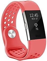 Kutop Fitbit Charge 2 Correa, Suave Silicona deportivo Reemplazo de Banda de Gel Sílice Banda de Reloj Ajustable para Fitbit Charge 2 (Rosado, Small (5.1-6.9 in))