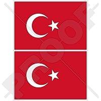 TÜRKEI Wehende Flagge TÜRKISCHE Fahne 75mm Auto Aufkleber x2 Vinyl Stickers
